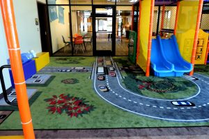 Racecar Themed Flooring with Toddler Playground